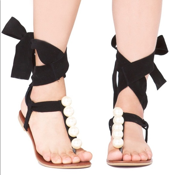 Jeffrey Campbell Shoes - Jeffrey Cambell wrap around ankle pearl sandals